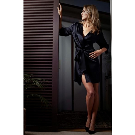 Adeline silk robe black