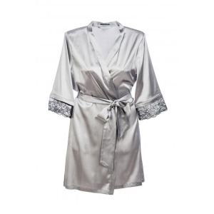 Angela silk robe silver