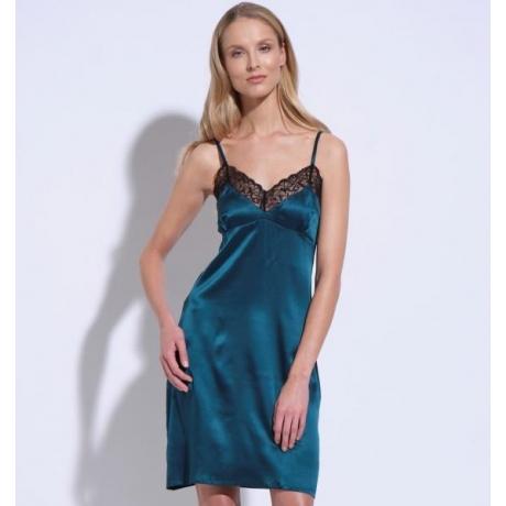 Athena silk lace silp dress green
