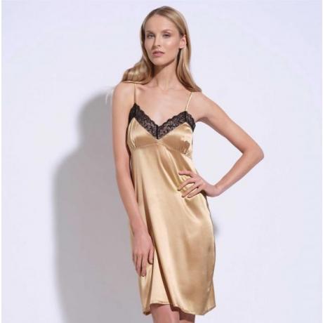 Athena silk lace silp dress gold