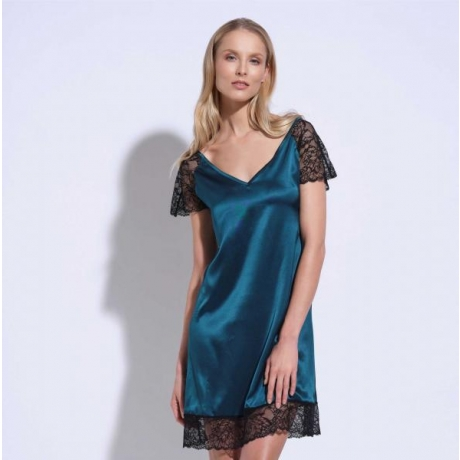 Athena silk lace nightgown green