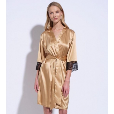 Athena silk lace robe gold