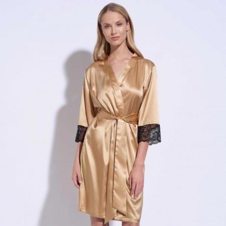 Athena siidist pitsiga hommikumantel kuld