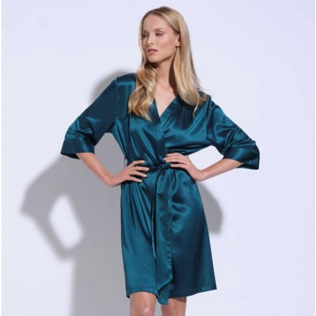 Athena silk robe green
