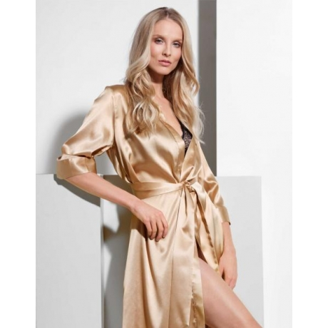 Athena silk robe gold