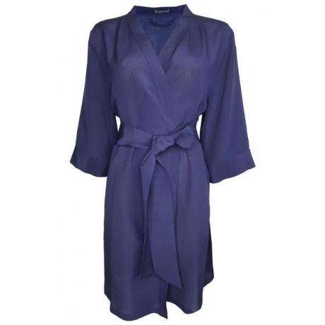 Adeline crepp silk robe dark blue