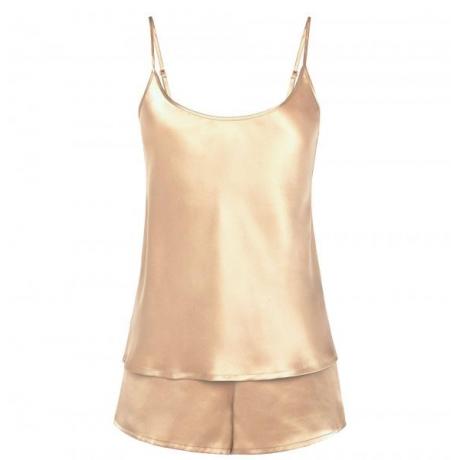 Silk пижама шелковая атласная бежево-золотистого цвета