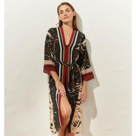 Pura Wild dessert silk kimono  brown COMING SOON