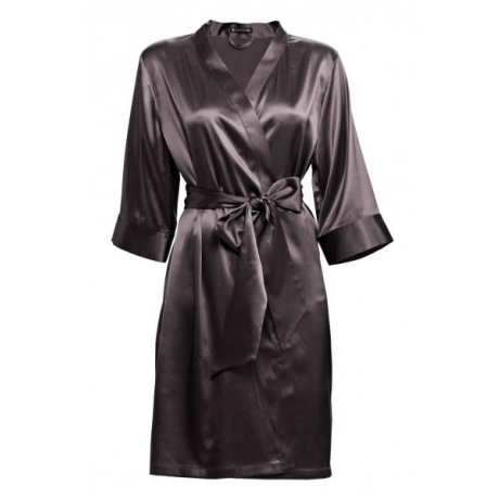Adeline silk robe dark gray