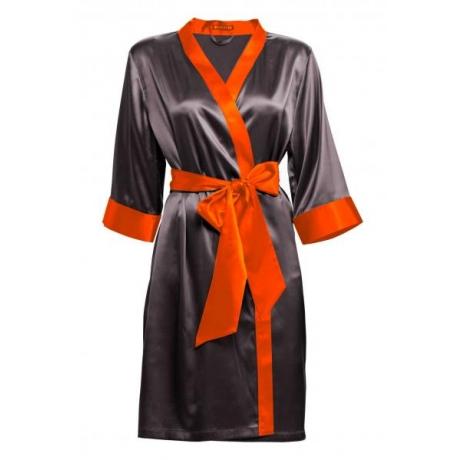 Adeline silk robe dark gray orange details S