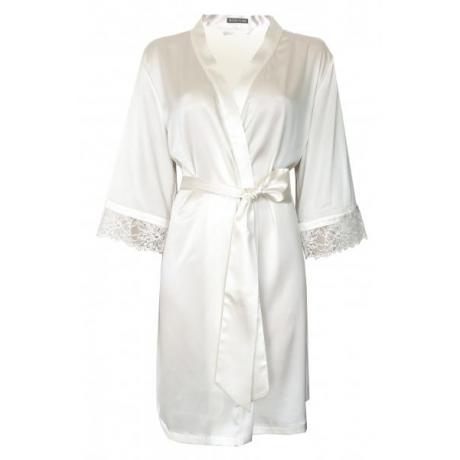 Angela шелковый халат натурально- белый