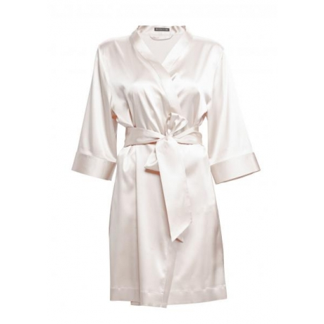 Adeline silk robe ivory