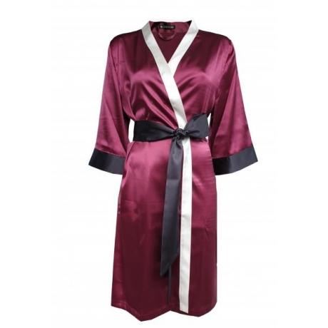 Aika шелковый халат бордовый