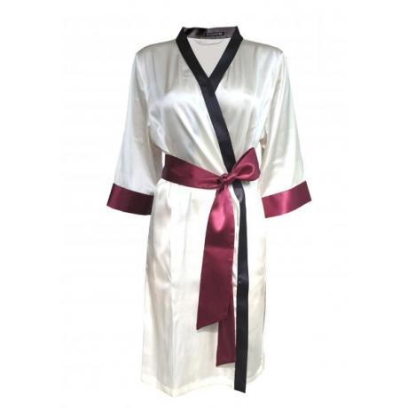 Aika шелковый халат натурально-белый