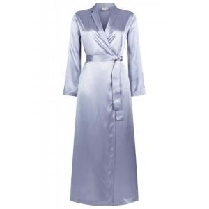 Silk  шелковый атласный длинный халат серый