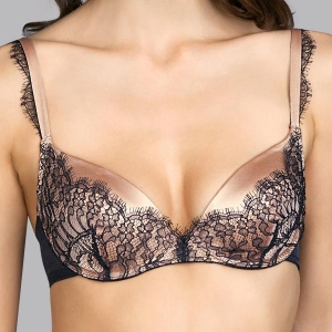 LOVE silk plunge push up bra black
