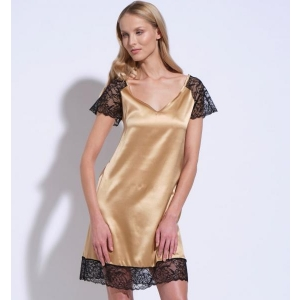 Athena silk lace nightgown gold