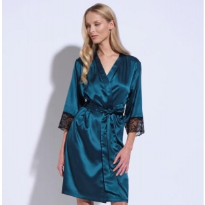 Athena silk lace robe green