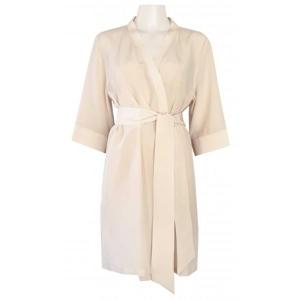 Adeline crepp silk robe beige
