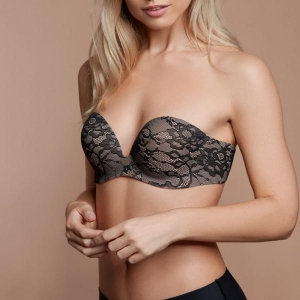 Gala bra silicon adhesive strapless black lace