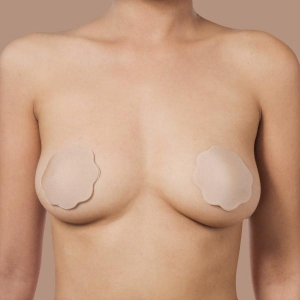 Satin silk nipple covers with silicone beige