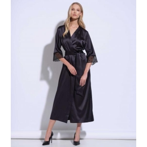 Athena silk lace long robe black