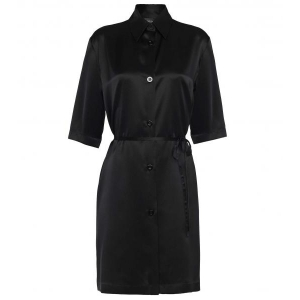 Silk La Perla  шелковое атласное  платье- халат черное S