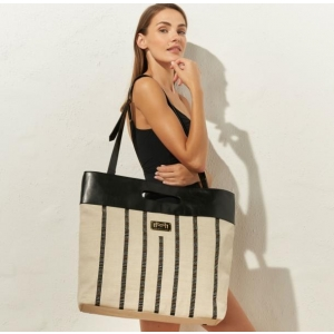 Beach bag camel black