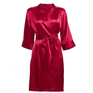 Adeline silk robe red