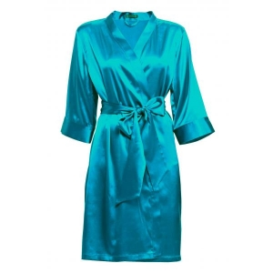 Adeline silk robe blue
