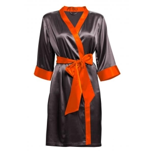 Adeline silk robe dark gray orange details S