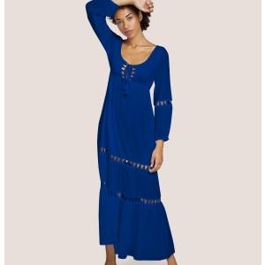 Elsa cotton long dress blue S