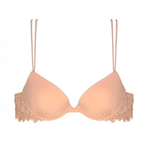 Agnese La Perla silk push up bra peach