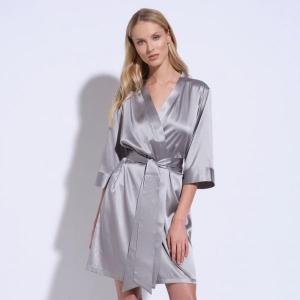 Adeline silk robe silver