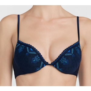 Neo Goth push up bra dark blue