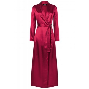 Silk long robe red