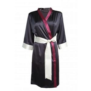 Aika silk robe black